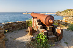 Port Vendres old canon Royalty Free Stock Images