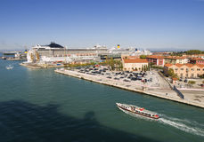 Port of Venice with a cruise Royalty Free Stock Photos