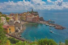 Port of Vernazza, in Cinque Terre, Italy stock photo