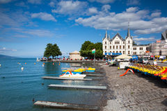 Port in Vevey at Geneva lake in Switzerland. Royalty Free Stock Photography