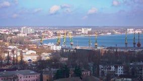 Port vid havet med mycket enorma kranar stock video