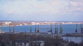 Port vid havet med stora kranar stock video