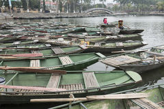 Port with Vietnamese boats. Nimh Binh, Vietnam. Port with Vietnamese small wood boats. Nimh Binh, Vietnam royalty free stock photos