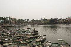 Port with Vietnamese boats. Nimh Binh, Vietnam. Port with Vietnamese small wood boats. Nimh Binh, Vietnam stock photography