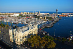 Port view. Aerial view of Barcelona port taken from Columbus Monument Royalty Free Stock Photos