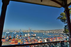 The port. View from ascensor Artilleria. Valparaiso. Chile Royalty Free Stock Photo