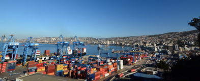The port. View from ascensor Artilleria. Valparaiso. Chile Stock Image