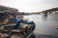 Port view from Phokaia Izmir Turkey. Royalty Free Stock Photo