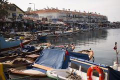 Port view from Phokaia Izmir Turkey. Royalty Free Stock Images
