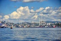 Port of Vladivostok city. Vladivostok city in summertime, golden horn bay, golden bridge Royalty Free Stock Image
