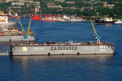 Port of Vladivostok  Golden Horn Bay  Floating dock Stock Photo