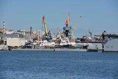 Port of Vladivostok Golden Horn Bay Floating dock Royalty Free Stock Photography