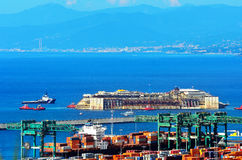 Port of voltri, genoa, italy, july 27 approach man Royalty Free Stock Photography