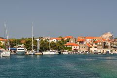 Port of Vrboska. Island Hvar, Croatia Royalty Free Stock Photography