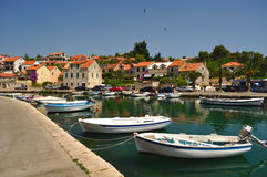 Port of Vrboska. Island Hvar, Croatia Stock Image