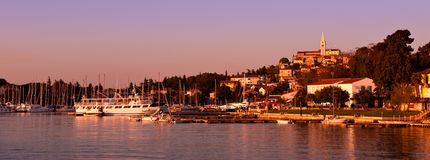 Port of Vrsar in sunset light. Stock Images