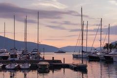 Port w Tivat mieście Montenegro Fotografia Stock