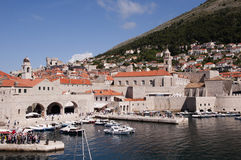 Port in the Walled City of Dubrovnic in Croatia Europe. Dubrovnik is nicknamed `Pearl of the Adriatic. Dubrovnik is one of the most beautiful towns in the Royalty Free Stock Images