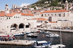 Port in the Walled City of Dubrovnic in Croatia Europe. Dubrovnik is nicknamed `Pearl of the Adriatic. Dubrovnik is one of the most beautiful towns in the Stock Photos