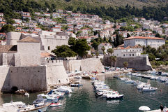 Port in the Walled City of Dubrovnic in Croatia Europe. Dubrovnik is nicknamed `Pearl of the Adriatic. Dubrovnik is one of the most beautiful towns in the Stock Images