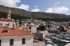 Port in the Walled City of Dubrovnic in Croatia Europe. Dubrovnik is nicknamed `Pearl of the Adriatic. Dubrovnik is one of the most beautiful towns in the Royalty Free Stock Image