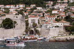 The port in the walled city of Dubrovnic in Croatia Stock Images