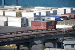 Port warehouse with cargoes and containers Stock Photography