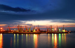 Port warehouse with cargoes and containers Stock Images