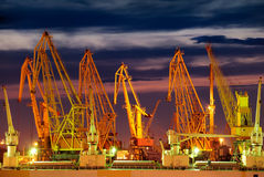 Port warehouse with cargoes and containers Royalty Free Stock Images