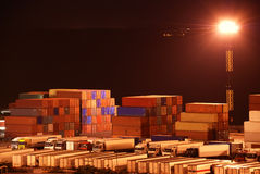 Port warehouse with cargoes and containers Royalty Free Stock Photography