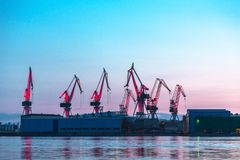 Port warehouse with cargoes Stock Photo