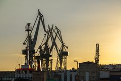 Port warehouse with cargoes Royalty Free Stock Photos