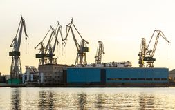 Port warehouse with cargoes Royalty Free Stock Photography