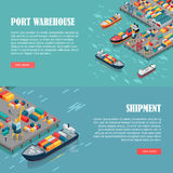Port Warehouse and Shipment Banner. Vector. Port warehouse and shipment banner. Cargo containers transshipped between transport vehicles, for onward Stock Photo
