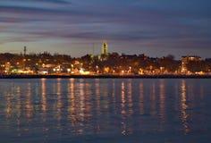 Port Washington Wisconsin som solen går ner Fotografering för Bildbyråer