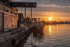 The Port of Wells at Sunset royalty free stock image