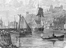 Port of Whitby. Engraving from Selections from the Journal of John Wesley, 1891 Stock Illustration