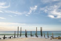 Day-Time at Port Willunga Beach Jetty Ruins, Fleurieu, SA. Port Willunga Beach featuring the iconic jetty ruins in the day light with slow shutter speed Royalty Free Stock Photo