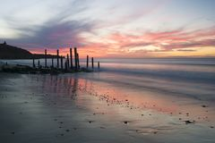 Port Willunga Beach Jetty Ruins at Sunset, South Australia. Port Willunga Beach featuring the iconic jetty ruins. In the Fleurieu Peninsula. Nature at it`s best Stock Photography