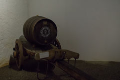 Port wine barrel on a cart Royalty Free Stock Photo