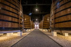 Port wine barrels in cellar, Vila Nova de Gaia, Porto, Portugal Royalty Free Stock Photography