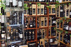 Port wine bottles at the wine store Stock Image
