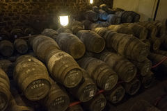 Port wine cellar in Vila Nova de Gaia, Portugal Royalty Free Stock Photo