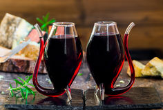 Port wine and cheese selection Royalty Free Stock Images