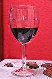Port wine and chocolate. Glass of port dessert wine with chocolate Royalty Free Stock Images