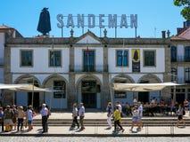 Port wine house Sandeman in Porto. Port wine house and restaurant Sandeman, Cais de Gaia, Porto, Portugal Royalty Free Stock Image