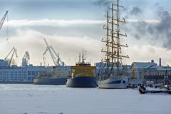Port in winter. Vasilyevsky Island Royalty Free Stock Photo
