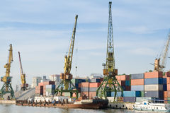 Port With Cargo Cranes Royalty Free Stock Image