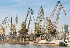 Port With Cargo Cranes Stock Photos