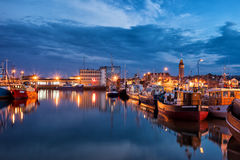 Port in Wladyslawowo Town at Night in Poland Stock Photos